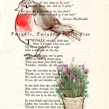 Fat Red Robin with Wildflowers Book Page Art Poem Page Art Upcycled Art Print Antique Book Pages Fat Red Robin Print cp357