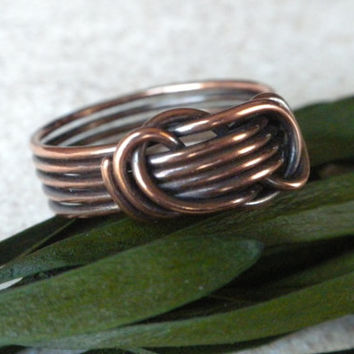 Antique Copper Knot Ring, Five Band Copper Ring, Bobbi Maw Ring, Oxidized Copper Ring, Etsy Handcrafted Copper Ring, Unisex Copper Knot Ring