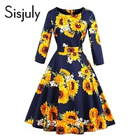 Sisjuly 1950s vintage autumn dresses women sunflowers print a-line o neck bow party elegant 2017 female vintage dresses new
