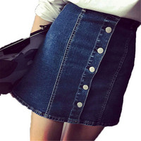 New Summer Arrival Denim Skirts Women Pencil Jeans Front Button Package Skirt For Women Ladies