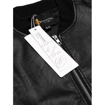 Black Long Sleeve Zip-Up Faux Leather Unfilled Bomber Jacket