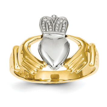 14K gold Two Tone Mens Claddagh Ring, Claddagh Ring, Claddagh Jewelry, Irish Jewelry, Friendship Jewelry, Loyalty Jewelry, Love Jewelry