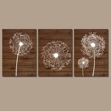 DANDELION Wall Art, Dandelion Wood Effect, Dandelion Nursery Art, Canvas or Prints, Floral Bedroom Pictures, Bathroom Decor, Set of 3