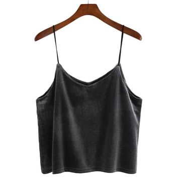 Top Cropped For Women Velvet harness hanging neck vest Crop Top Encaje