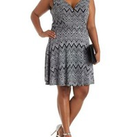 Plus Size Glitter Chevron Skater Dress