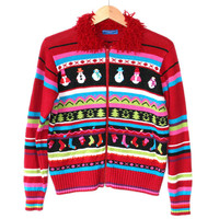 Busy ADHD Shaggy Collar Tacky Ugly Christmas Sweater
