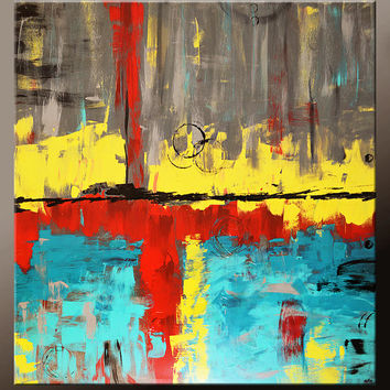 Abstract Canvas Art Painting HUGE 48x48 Contemporary Original Textured Art Ready to Hang Free S&H by Destiny Womack -  dWo -  Trials XXXV
