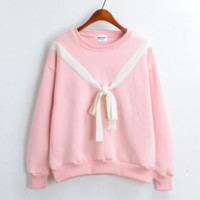 Mock Bow in front Pullover Sweatshirt