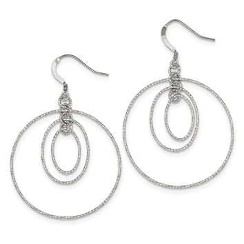 925 Sterling Silver Textured Oval and Circle Post Dangle Earrings