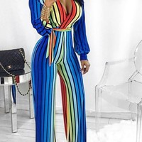 Blue Striped Sashes Rainbow Colorful Deep V-neck Wide Leg Long Jumpsuit