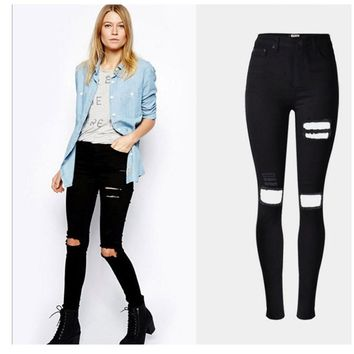 34-44 Big Size Women Skinny Jeans High Waist Black Slim Pencil Pants Holes design Soft Girl Ripped Jeans Bleached Holes Destroy