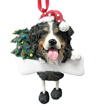 "Bernese Mt Dog Ornament with Unique ""Dangling Legs"" Hand Painted and Easily Personalized Christmas Ornament"
