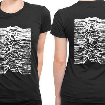 CREYH9S Joy Division Unknown Pleasure Remember Earthquake 2 Sided Womens T Shirt