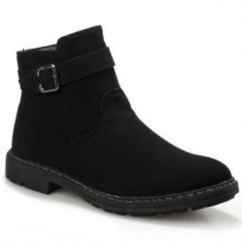 Simple Style Men's Boots With Solid Color and Buckle Design