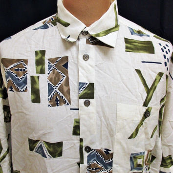 Vintage 80s Shirt Aztec On Trend Student Fresher Party Art Pattern Medium