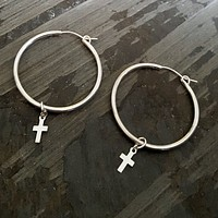Sterling Silver Hoop Earrings with Dangling Cross