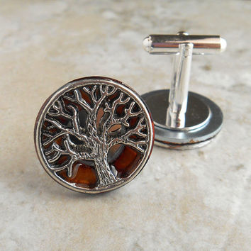 cufflinks: tree of life - desert - boyfriend gift - anniversary gift - tree cufflinks - celtic cufflinks - best man gift - mens jewelry