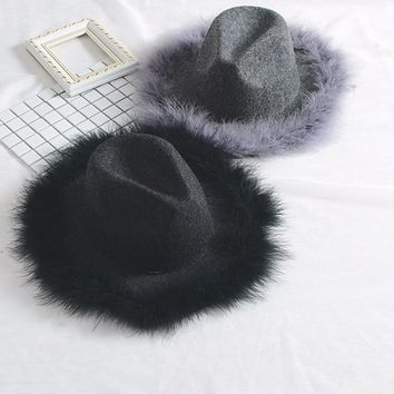 Autumn Vintage Feather Black Hat For Women Wool Hats Fashion