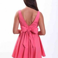 Pink Sleeveless Mini Dress with Oversized Back Bow