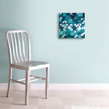abstract painting - acrylic on canvas - teal blue squares - minimal - abstract expressionism - ocean sea beach