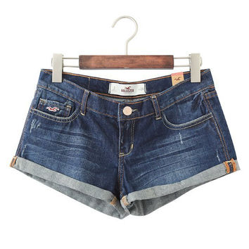 Ripped Holes Ruffle Weathered Denim Pants Shorts [4917821124]