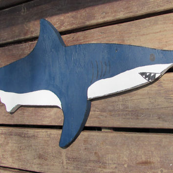 Navy and White Great White Shark. Great White Shark. Shark Sign. Shark Decor. Nautical. Nautical Decor. Sharks. Ready To Ship