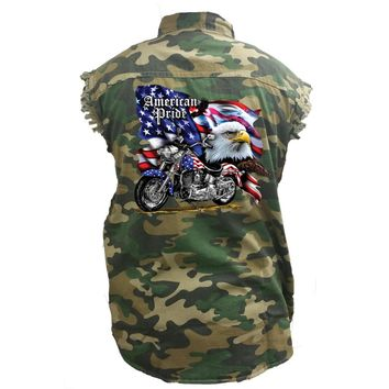 Men's Camo Sleeveless Denim Shirt USA Flag American Pride Bald Eagle Camouflage