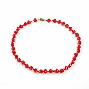 """Vintage Glass Necklace Red Oblique Beads 1940S 15"""""""