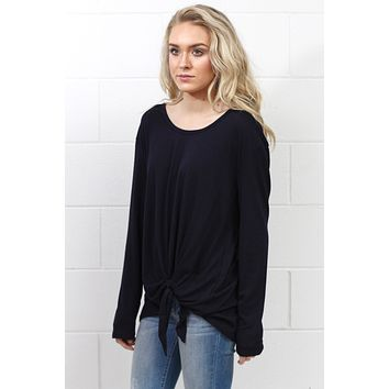 Side Tie Long Sleeve Top {Eggplant}