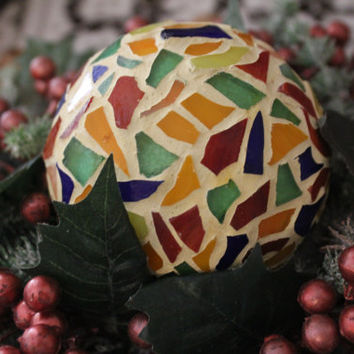 Mosaic ball - Colorful stained glass  orb - An extremely unique Christmas gift - Multicolour ornament for tables with candles