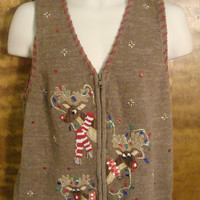 Bling Reindeer Ugly Christmas Sweater Vest