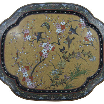 Antique Cloisonné Enameled Tray