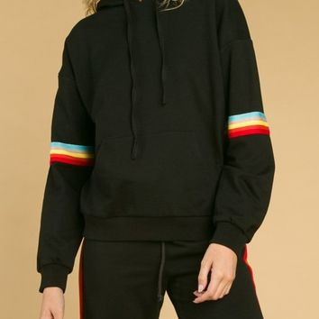 Hoodie With Colorblock Band On Sleeves (8IT0928H)