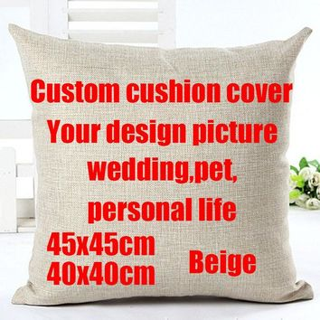 Diy your photo here wedding life your design picture print cushion cover pillow case gift for friend family funda cojines