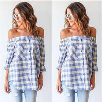 Light Blue Plaid Pattern Print Off the Shoulder Single Breasted Blouse