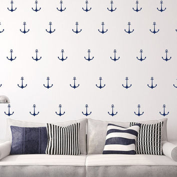 Anchor Wall Decals - Nautical Wall Decals Decor - Pattern Wall Decals - Nursery Wall Decals - Pattern for Kids  - Set of 50 - T65