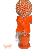 Large Orange Lollipop Candy Topiary, Aisle Decor, Birthday Centerpiece, Lollipop Wedding Centerpiece, Orange Centerpiece, Lollipops, Candy