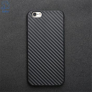KRY Carbon Fiber Phone Cases For iPhone 6 Cases 6s Plus Soft Anti-Knock Cover For iPhone 7 Case 7 Plus Leather Skin Capa Coque