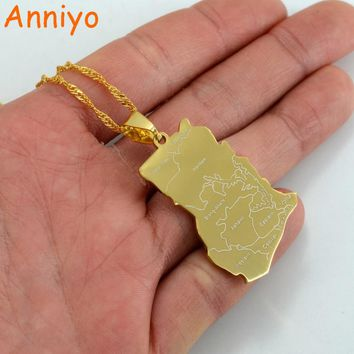 Anniyo Gold Color Ghana Map Pendant Necklaces Charm Jewelry Gifts #007521
