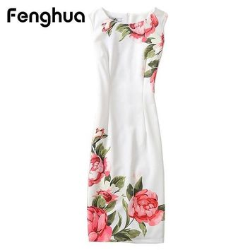 Fenghua Women's Vintage Floral Elegant Party Spring Summer Dress