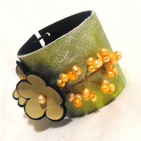 Leather green and yellow floral bracelet Leather by julishland