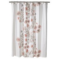 "Blooms Flat Weave Shower Curtain (72""x72"") Coral - Threshold™"