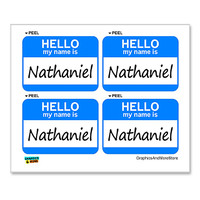 Nathaniel Hello My Name Is - Sheet of 4 Stickers