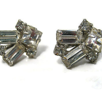 Coro Vintage Rhinestone Earrings Silver Tone Screw Back Womens Formal Bling Glitz Glam Sparkle Art Deco Mid Century Jewelry Prom Wedding