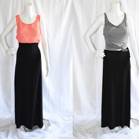 Custom Black Maxi Skirt/ High Waist Skirt/ Long Black A Line Skirt/ Classic Casual Maxi