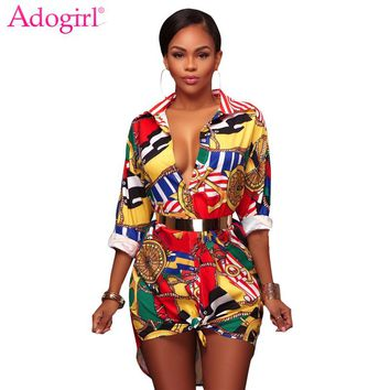 Adogirl Fashion Gold Chain Pineapple Floral Print Shirt Dress Turn Down Collar Long Sleeve Casual Mini Dresses Women Sexy Blouse