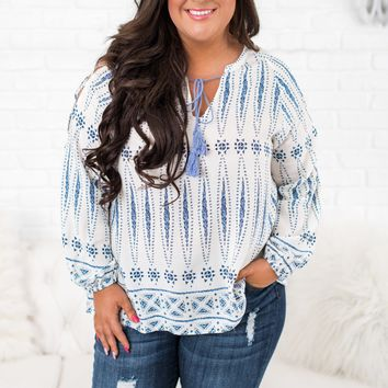 Curvy Something For You Printed Top (White)