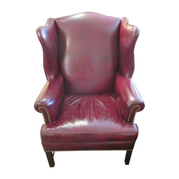 Pre-owned Red Leather Wing Back Chairs - A Pair
