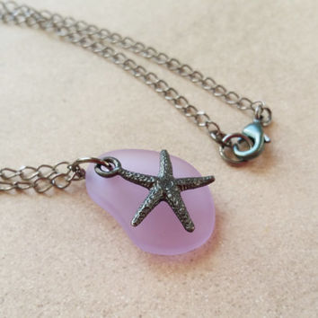 Purple Starfish Necklace with Eco Friendly Recycled Glass, Sea Life Jewelry Ocean Beach Charm Necklace, Gunmetal Jewelry