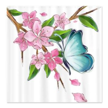 butterfly cherry blossom watercolor Shower Curtain> Animal Shower Curtains> Makanahele Creations